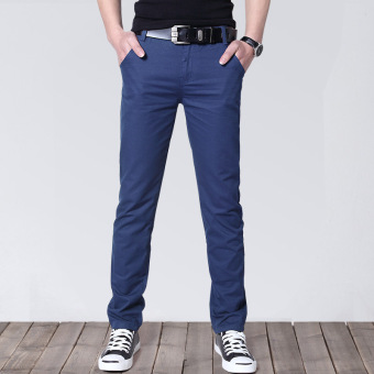 Korean-style Slim Fit Youth Summer skinny pants men's casual pants (Sapphire Blue)