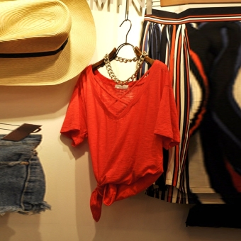 Korean-style slub cotton solid color female LOOESN Top T-shirt (Red)