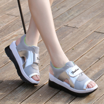 Korean-style soft bottom summer thick bottomed sports sandals (Grey/Green)