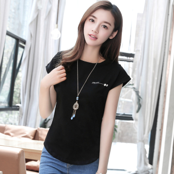 Korean-style solid color summer new bat white Top (Black)