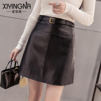 Korean-style solid high-waisted slimming leather skirt (Black)