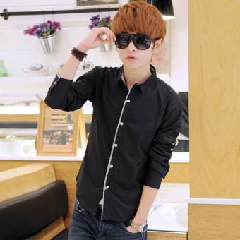 Korean-style solid white men's Slim fit shirt long-sleeved shirt (Black)