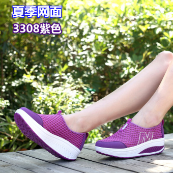 Korean-style Spring and Autumn breathable heavy-bottomed casual shoes shook his shoes (Mesh 3308 purple to send socks)