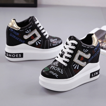 Korean-style Spring and Autumn New style platform shoes female shoes (Black)