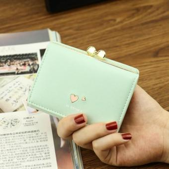 Korean-style student three folding purse clip New style wallet (Jade green)