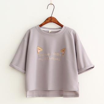 Korean-style summer loose chiffon shirt cute short sleeved t-shirt (Gray) (Gray)