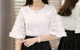 Korean-style Summer Student Tutu dress (White lace Top)