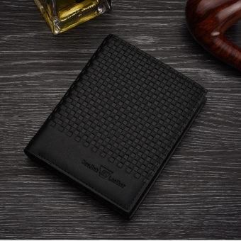 Korean-style thin youth embossed short wallet (730 black verticle)