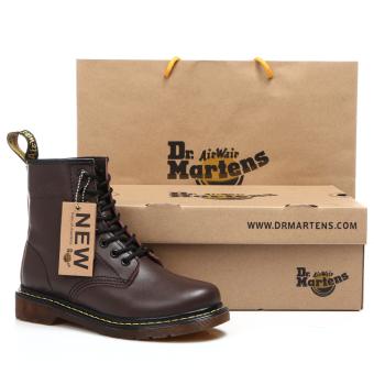 Men England leather Desert boots 1460 brown Plus velvet Models 1460 brown Plus velvet Models