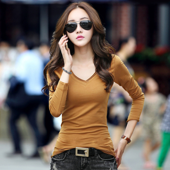 Korean-style V-neck slimming Cotton Short sleeved t-shirt Women's Top (Khaki long-sleeved)