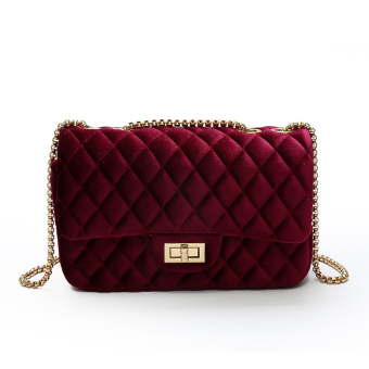 Korean-style velvet autumn shoulder bag small bag (Wine red color)