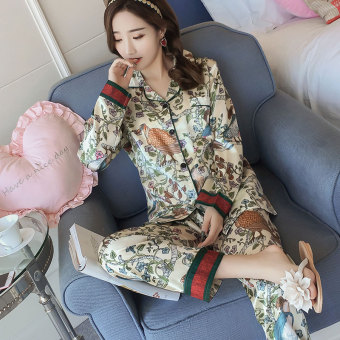 Korean-style Women's Long Sleeve Silk Pajamas Set (303 #)
