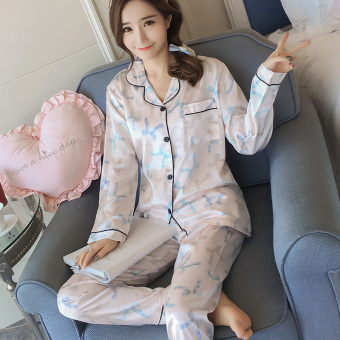 Korean-style Women's Long Sleeve Silk Pajamas Set (304 # Cooljie)