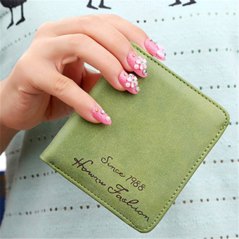 Korean-style women's soft surface Mini Wallet wallet (Dark green color)