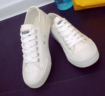 Korean version of the classic flat canvas shoes casual shoes -white - intl