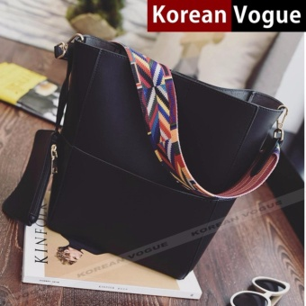 Korean Vogue 2 Pieces KV4005 Mysterious Black Series High Quality Ladies Synthetic Leather Women Tote Bag Set with Pouch