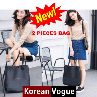 Korean Vogue KV4007 Mysterious Black Series Quality SyntheticLeather Simple Style Large Capacity Ladies Shopping Shoulder ToteBag Bag With Handbag Bag Set(Black)