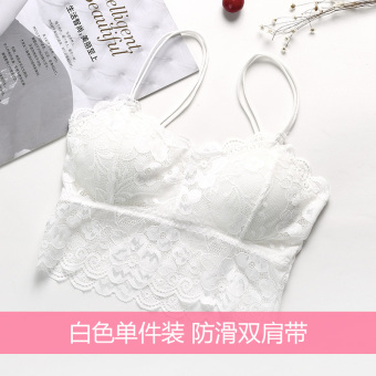 Lace female anti-student boob tube top strap underwear (White one-piece dress [comfortable sexy lace])