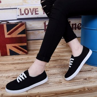 Ladies Black Canvas Sneakers with Lace - Black