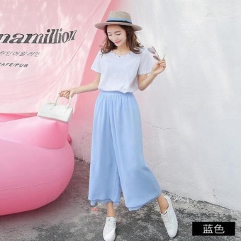 Ladies Chiffon Trousers Summer Women High Waist Loose Two layers Culottes Chiffon Pleated Pants Girls Wide Leg Pants Blue - intl ...