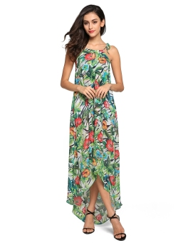 Ladies Irregular Hem Floral Print Maxi Long Dress Beach Chiffon Dress