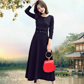 Ladies temperament long-sleeved knee long section bottoming skirt dress