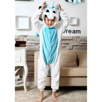 LALANG Children Animal Unicorn Pajamas Boys Girls Sleepwear (Blue)- intl