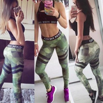 LALANG Elastic Slim Yoga Pants Legging for Running Sport Fitness(Green) - intl