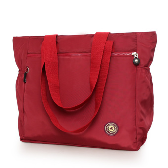 Large Capacity travel women's bag shopping bag (Wine red color)