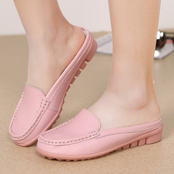 Lazy flat breathable moccosins non-slip slippers (288 pink color)
