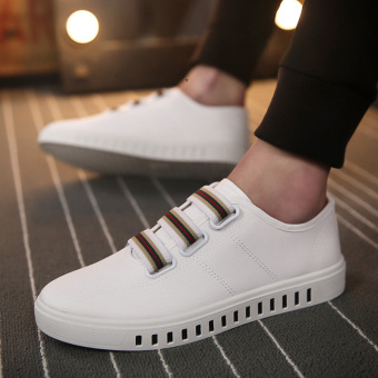 Lazy Korean-style foot covering a pedal casual men's shoes autumn canvas shoes (White)