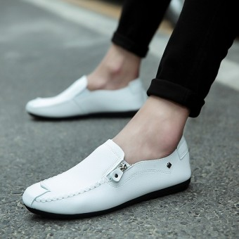 Lazy Korean-style Plus velvet a pedal winter warm leather shoes moccosins (K01 white (shoes models))