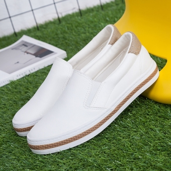 Lazy versatile female a pedal flat casual shoes BayMini shoes (White)