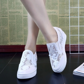 LCFU764 2017 Women Sequin Lace Leisure Casual Platform Shoes Height Increasing Solid Square Toe Wedge sneakers-white - intl