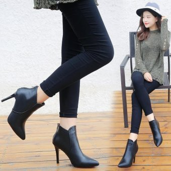 LCFU764 Women's Pointed Toe Stiletto Ankle Boots London Shoes Hot-Black - intl Price Philippines