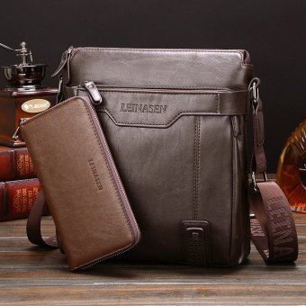 Leather Handbag High Quality Crossbody Bag Satchel Bag Vertical Section Male Korean Leisure Calfskin Business Messenger Bag (Coffee /1 Wallet Inside) Price Philippines