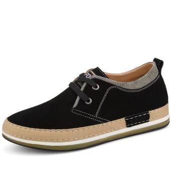 leather man 8cm men men's shoes elevator shoes Black