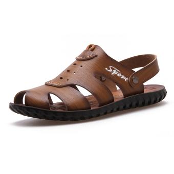 leather nan xiu xian Men shoes Men Sandals Khaki Khaki