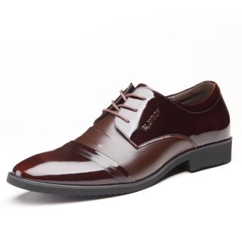 leather Men lace-up elevator Men shoes business casual leather shoes Brown glossy lace Brown glossy lace