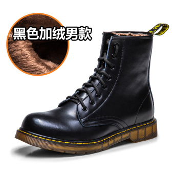 Leather men warm boots Dr. Martens (Black Plus velvet male models)