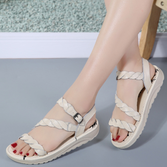Leather New style flat heel girl's maternity shoes summer women's shoes (Leather off-white)