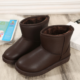 Leather slip flat thick boots snowfield boots (Dark Brown)
