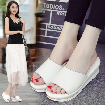 Leather slip muffin flat sandals women's slippers (White)