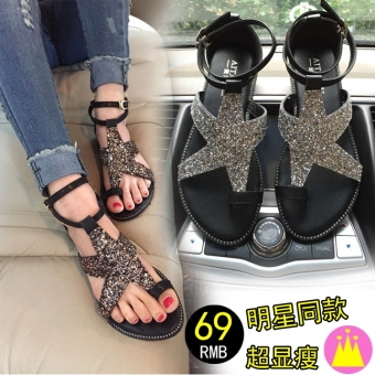 Leather star flat heel Plus-sized women's sandals gladiator sandals (Silver)