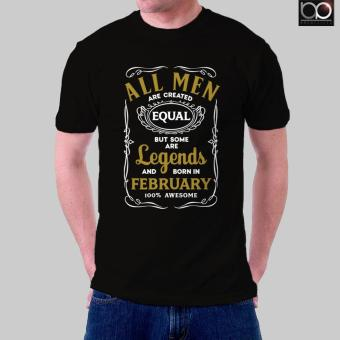 Legends are Born in February T-shirt for Men (Black)