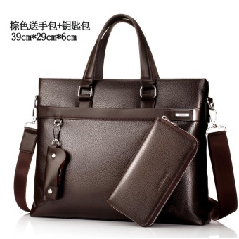 LEINASEN men's bag cross Portable Bag (Shishang Brown to send handbag + key bag)