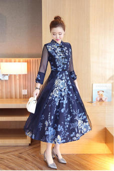 Linen original New style autumn improved cheongsam dress