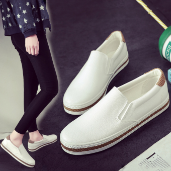 Loafers Korean female pedal ladies shoes canvas shoes (White) (White)