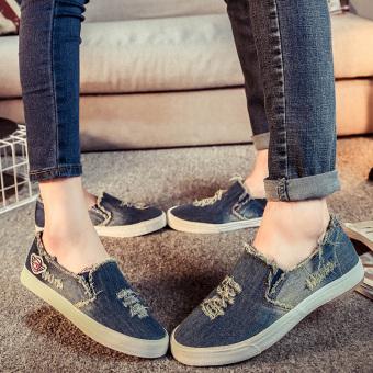 Loafers Korean-style denim women couple's shoes a pedal shoes (Female Models + Shen