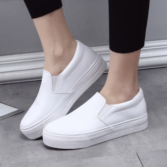Lok Fu shoes leather autumn New style heavy-bottomed canvas shoes (White)